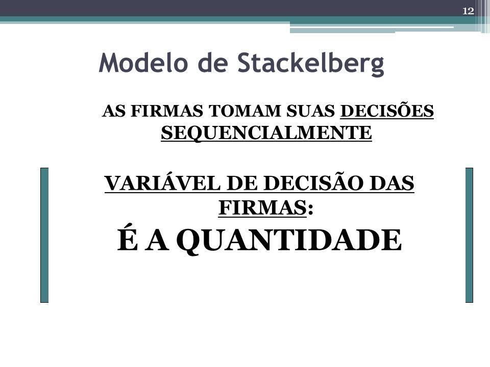 É A QUANTIDADE Modelo de Stackelberg VARIÁVEL DE DECISÃO DAS FIRMAS: