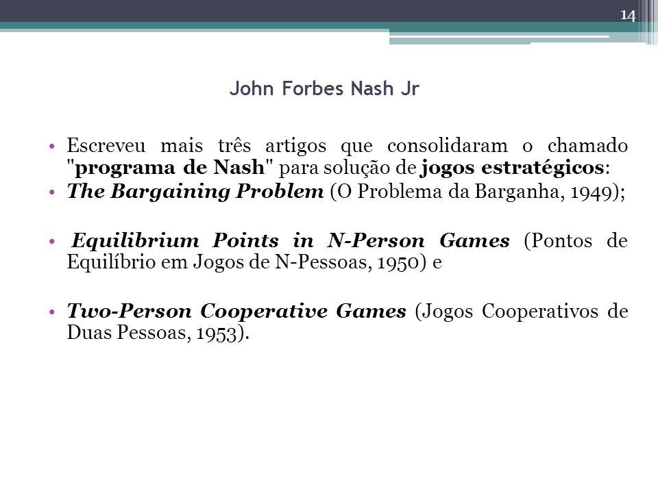 John Forbes Nash Jr Escreveu mais três artigos que consolidaram o chamado programa de Nash para solução de jogos estratégicos: