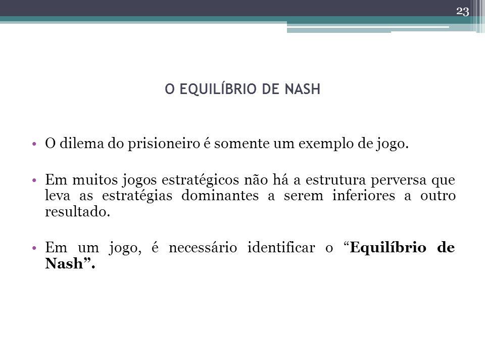 O EQUILÍBRIO DE NASH O dilema do prisioneiro é somente um exemplo de jogo.