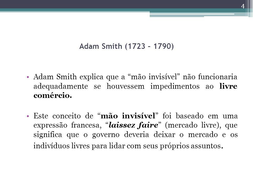 Adam Smith (1723 – 1790) Adam Smith explica que a mão invisível não funcionaria adequadamente se houvessem impedimentos ao livre comércio.