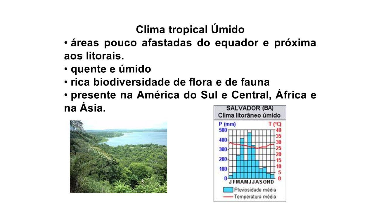 Clima tropical Úmido áreas pouco afastadas do equador e próxima aos litorais. quente e úmido. rica biodiversidade de flora e de fauna.