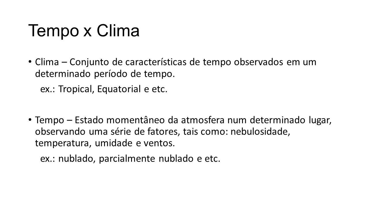 Tempo x Clima Clima – Conjunto de características de tempo observados em um determinado período de tempo.