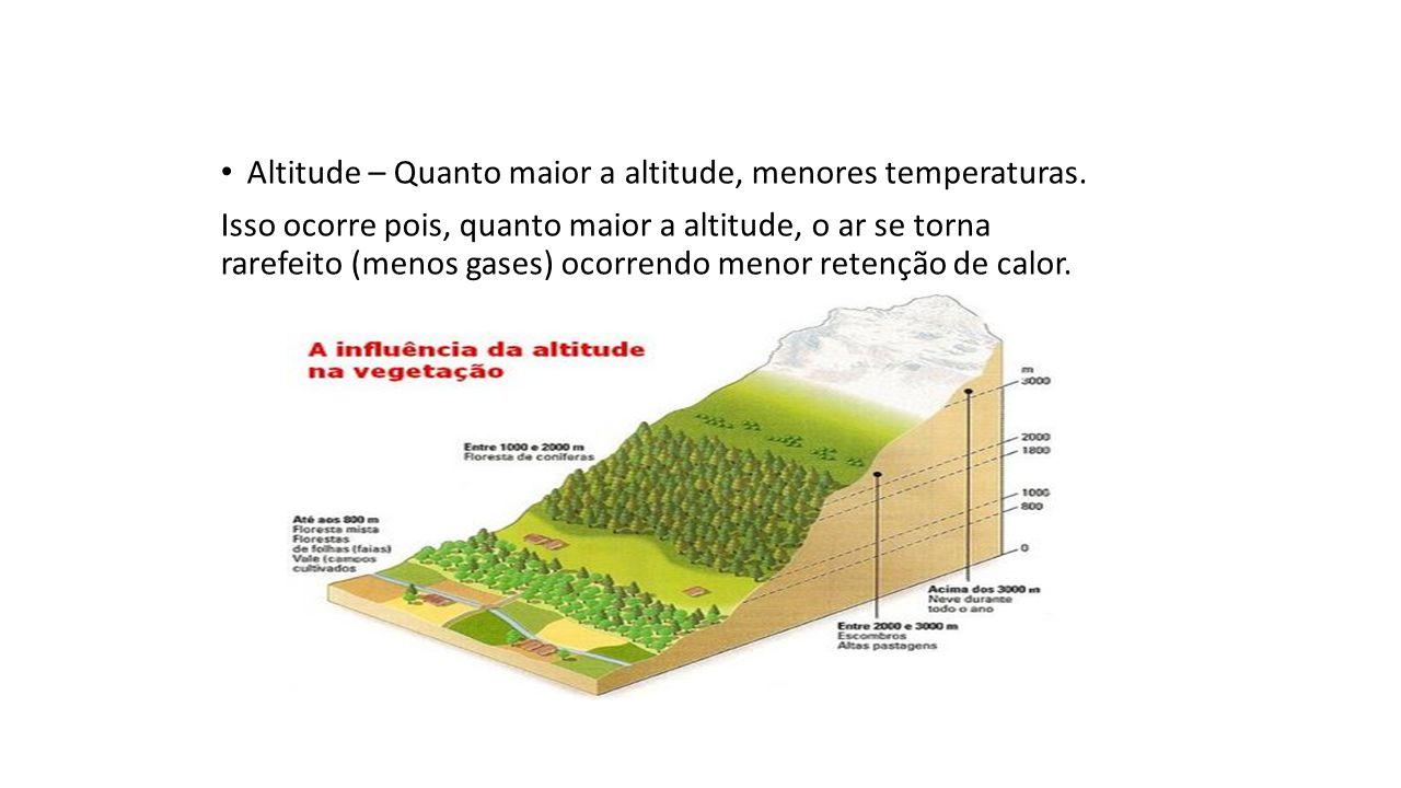 Altitude – Quanto maior a altitude, menores temperaturas.