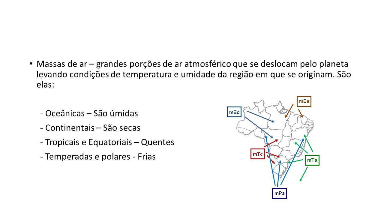 Massas de ar – grandes porções de ar atmosférico que se deslocam pelo planeta levando condições de temperatura e umidade da região em que se originam. São elas: