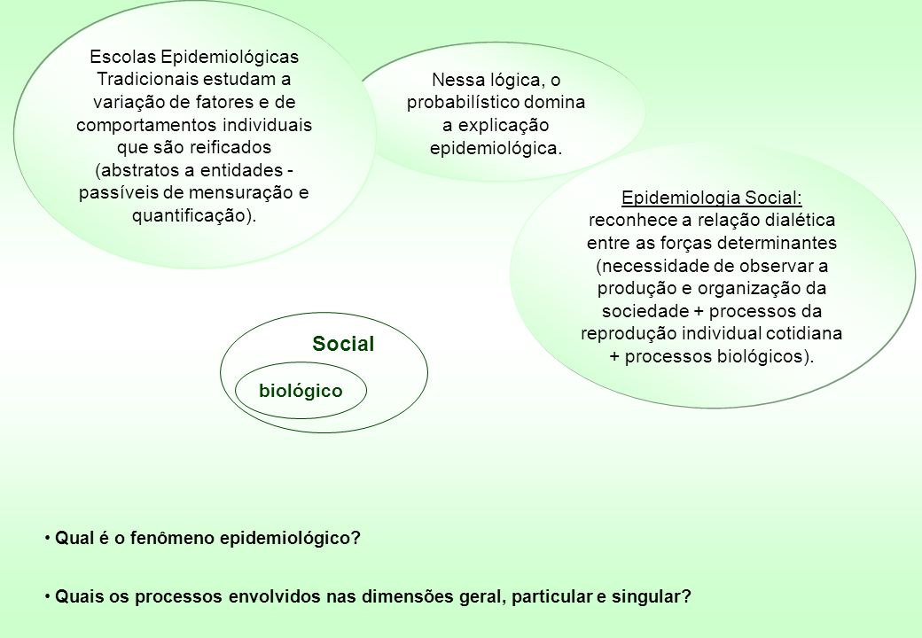 Escolas Epidemiológicas Tradicionais estudam a variação de fatores e de comportamentos individuais que são reificados