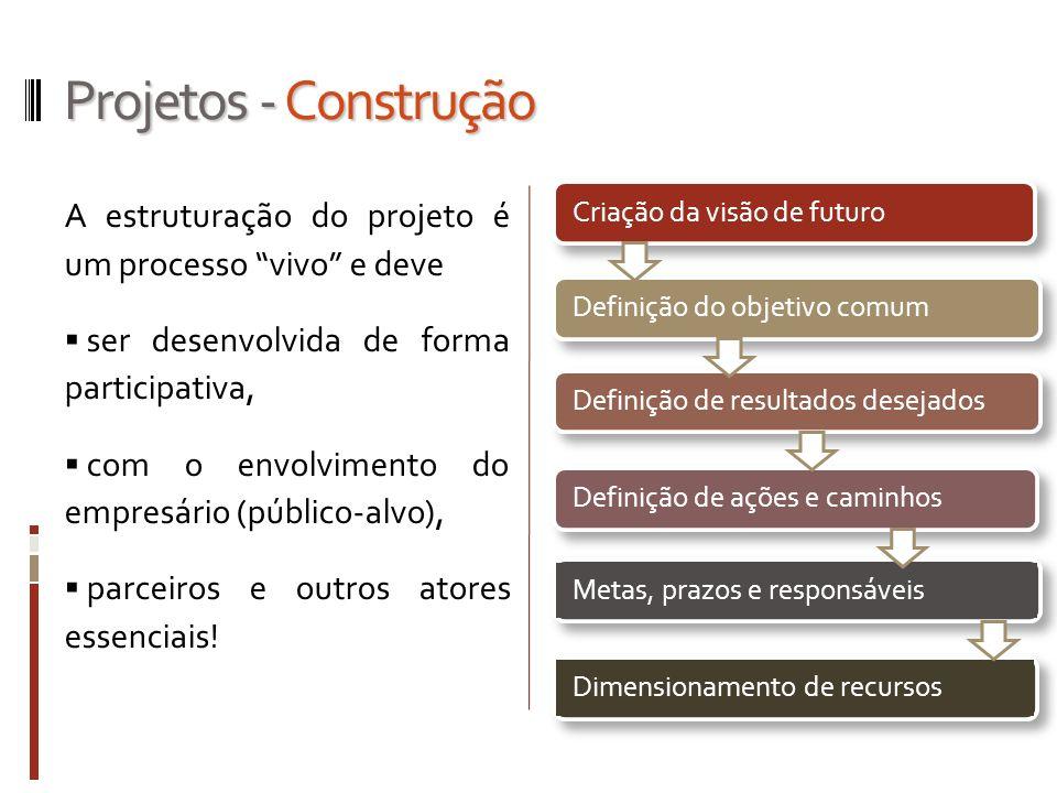 Projetos - Construção A estruturação do projeto é um processo vivo e deve. ser desenvolvida de forma participativa,