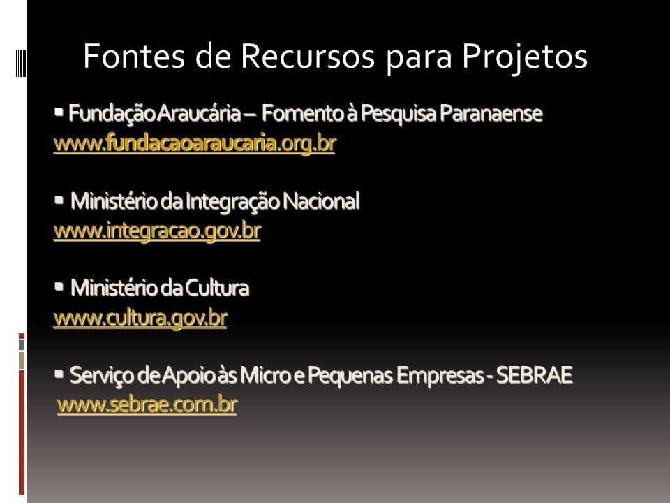Fontes de Recursos para Projetos