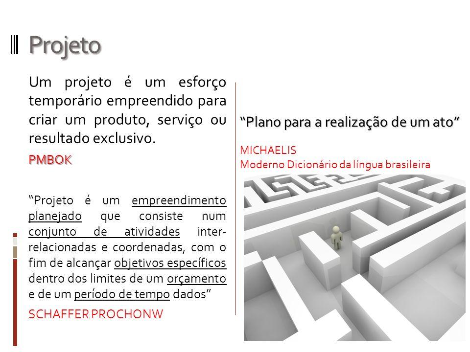 Projeto Um projeto é um esforço temporário empreendido para criar um produto, serviço ou resultado exclusivo.