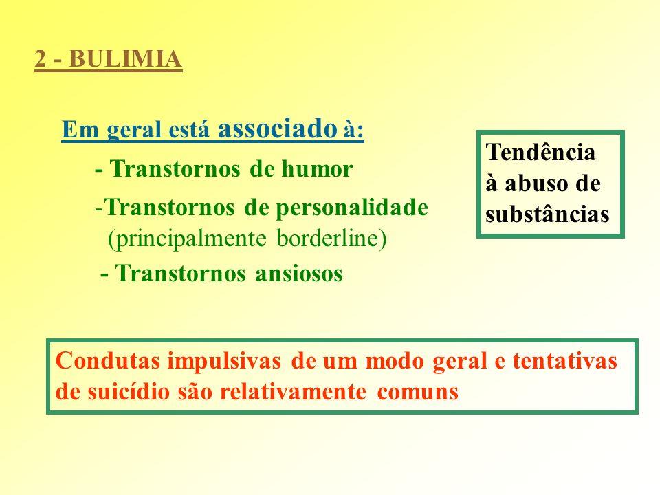 2 - BULIMIA Em geral está associado à: Tendência. à abuso de. substâncias. - Transtornos de humor.