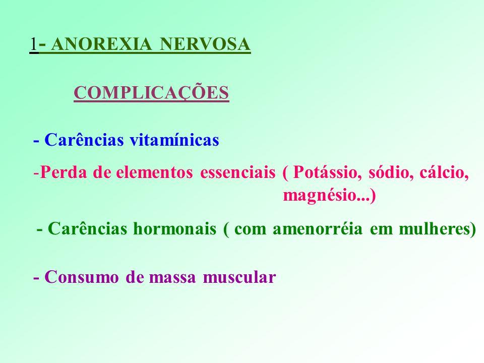 1- ANOREXIA NERVOSA COMPLICAÇÕES. - Carências vitamínicas. Perda de elementos essenciais ( Potássio, sódio, cálcio,