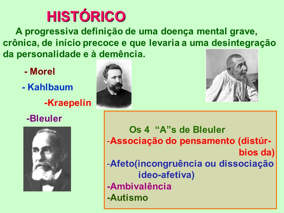 HISTÓRICO A progressiva definição de uma doença mental grave,