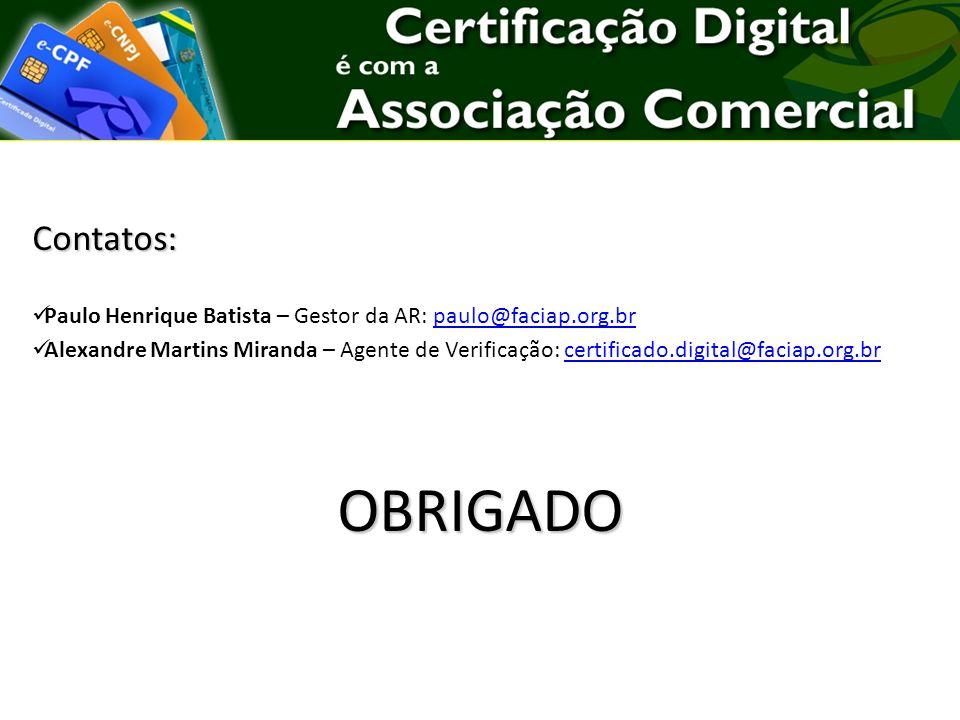 Contatos: Paulo Henrique Batista – Gestor da AR: paulo@faciap.org.br.
