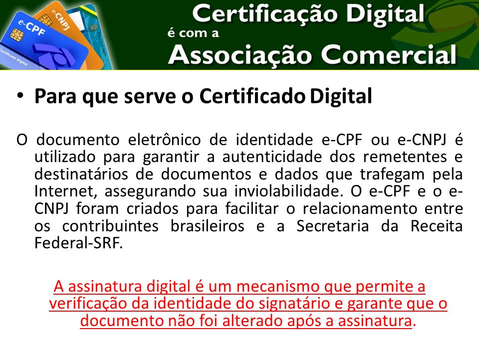 Para que serve o Certificado Digital