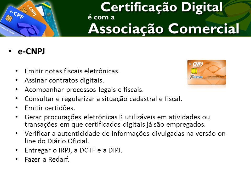 e-CNPJ Emitir notas fiscais eletrônicas. Assinar contratos digitais.