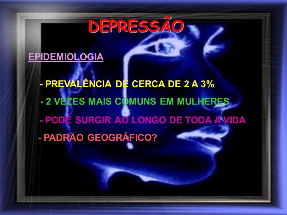 DEPRESSÃO EPIDEMIOLOGIA - PREVALÊNCIA DE CERCA DE 2 A 3%