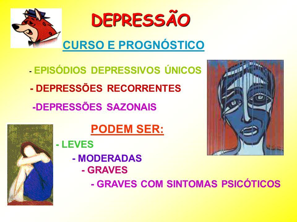 DEPRESSÃO CURSO E PROGNÓSTICO PODEM SER: - DEPRESSÕES RECORRENTES
