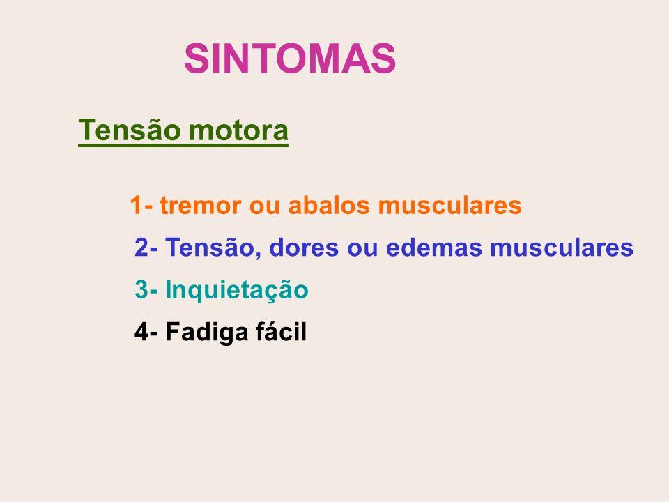 SINTOMAS Tensão motora 1- tremor ou abalos musculares