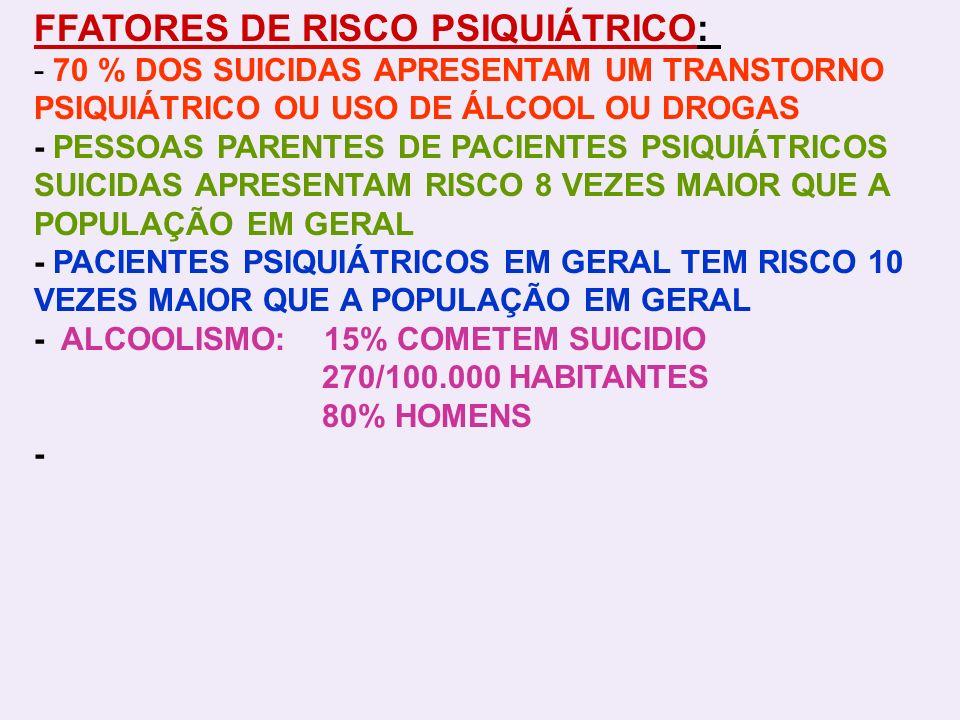 FFATORES DE RISCO PSIQUIÁTRICO: