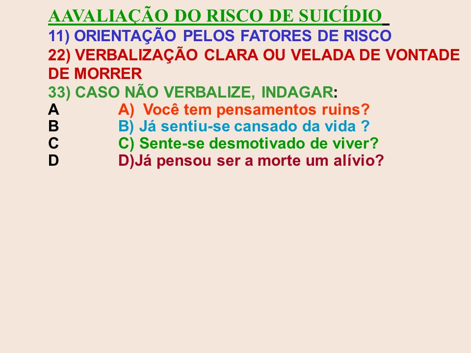 AAVALIAÇÃO DO RISCO DE SUICÍDIO