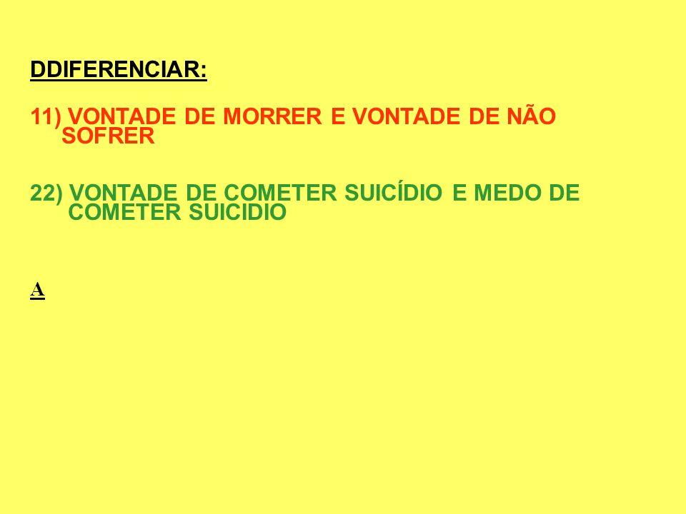11) VONTADE DE MORRER E VONTADE DE NÃO SOFRER
