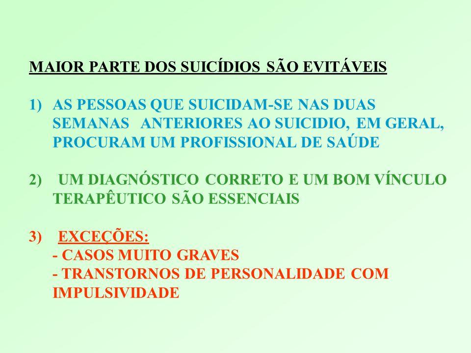 MAIOR PARTE DOS SUICÍDIOS SÃO EVITÁVEIS