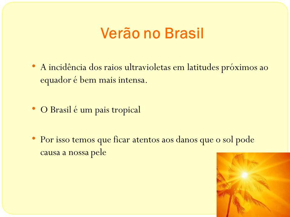 Verão no Brasil A incidência dos raios ultravioletas em latitudes próximos ao equador é bem mais intensa.
