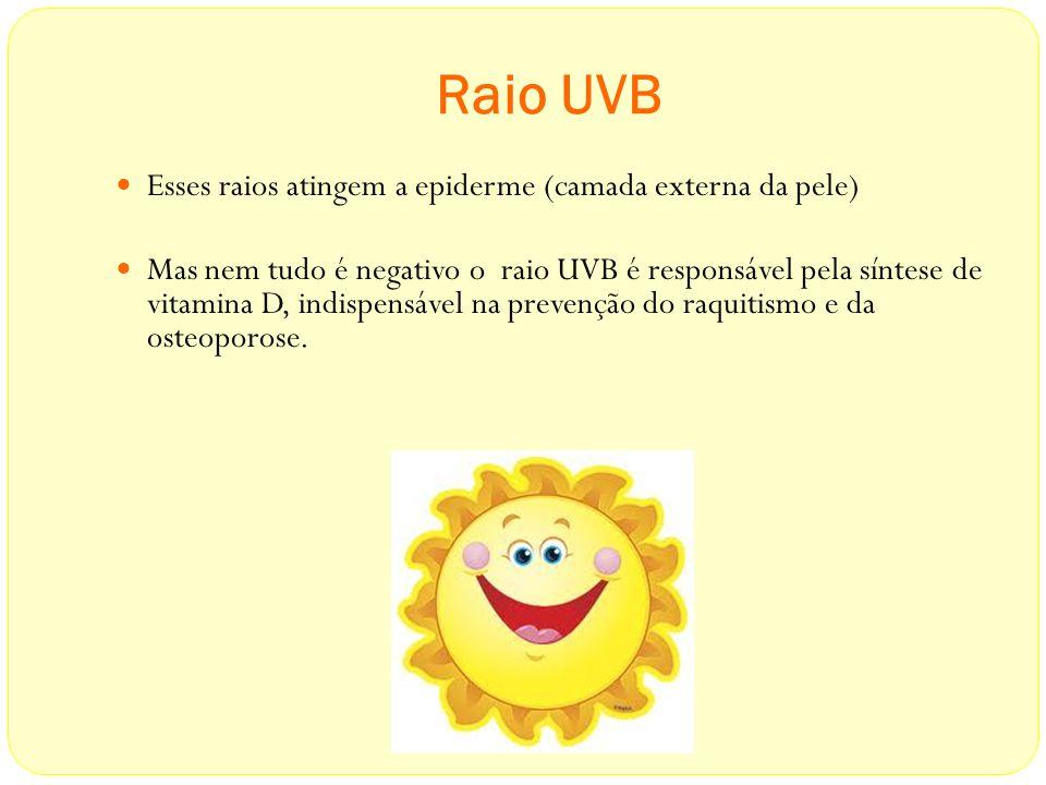 Raio UVB Esses raios atingem a epiderme (camada externa da pele)