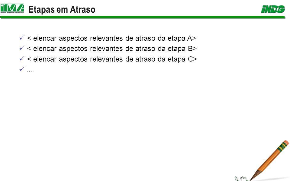 Etapas em Atraso < elencar aspectos relevantes de atraso da etapa A> < elencar aspectos relevantes de atraso da etapa B>