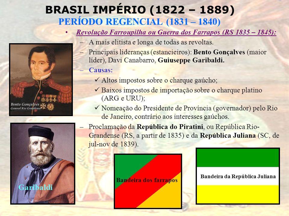 Revolução Farroupilha ou Guerra dos Farrapos (RS 1835 – 1845):