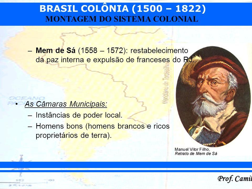 Mem de Sá (1558 – 1572): restabelecimento da paz interna e expulsão de franceses do RJ.