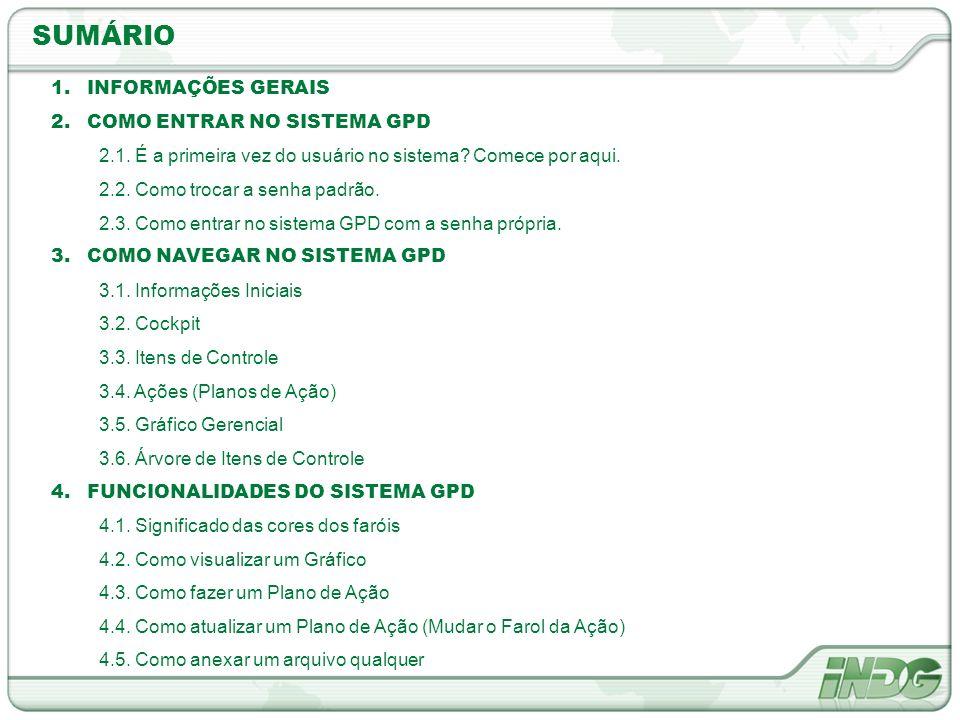 SUMÁRIO INFORMAÇÕES GERAIS COMO ENTRAR NO SISTEMA GPD