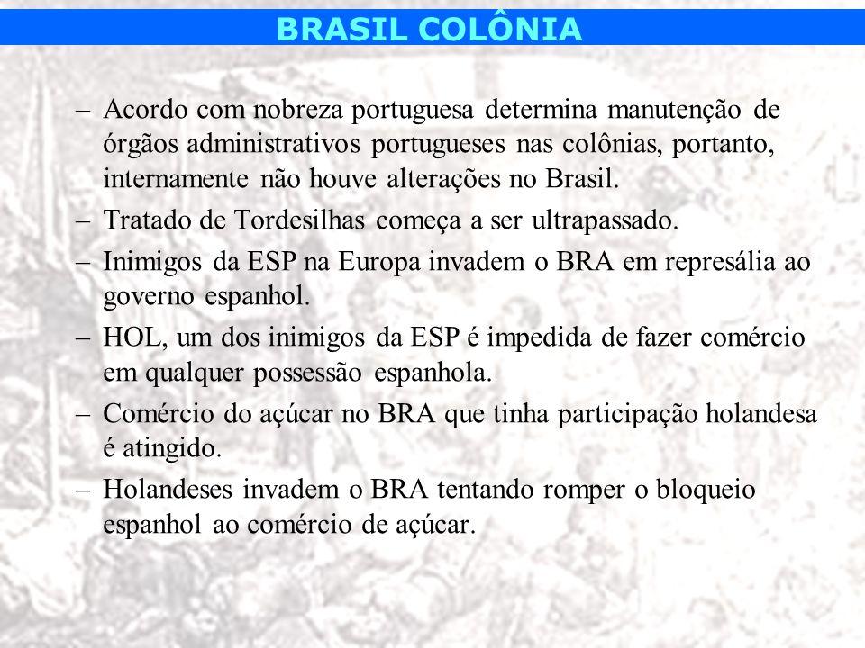 Acordo com nobreza portuguesa determina manutenção de órgãos administrativos portugueses nas colônias, portanto, internamente não houve alterações no Brasil.