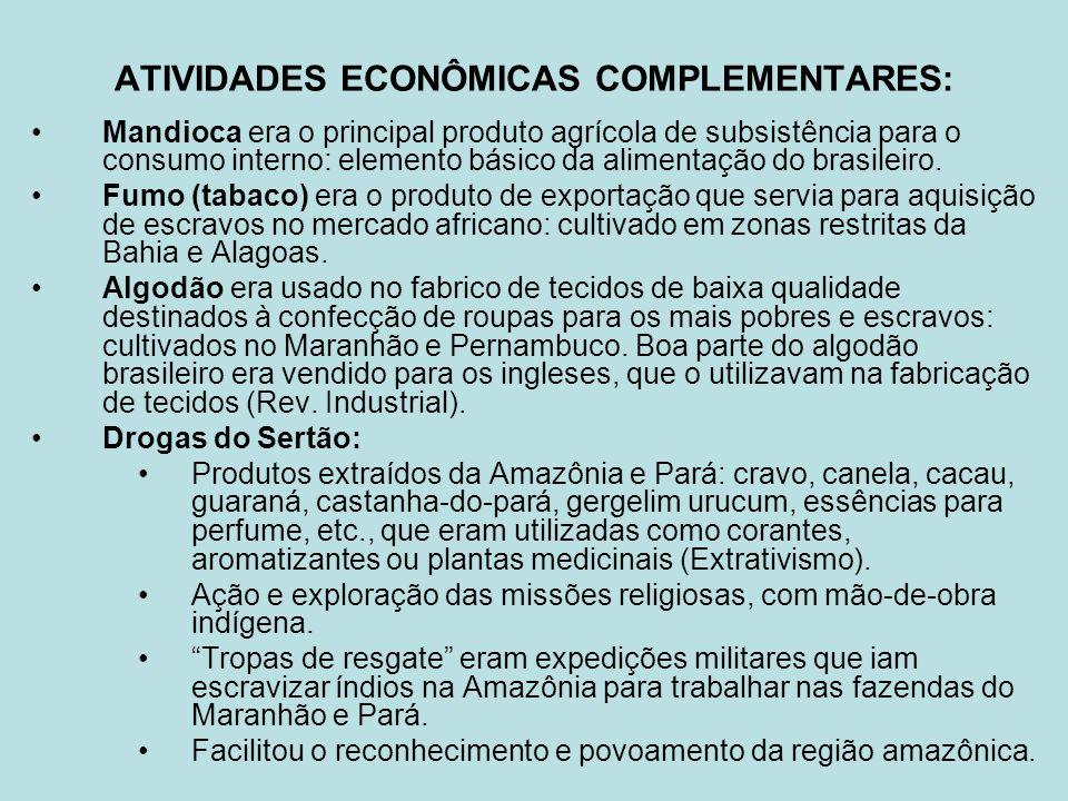 ATIVIDADES ECONÔMICAS COMPLEMENTARES: