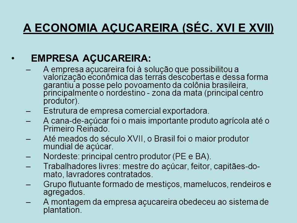 A ECONOMIA AÇUCAREIRA (SÉC. XVI E XVII)
