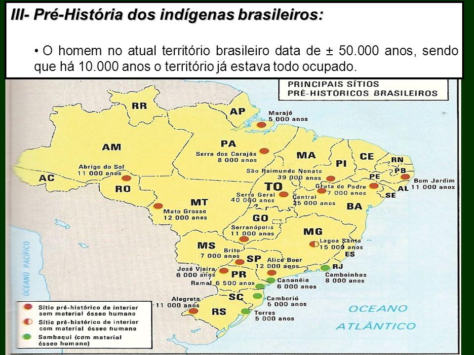 III- Pré-História dos indígenas brasileiros: