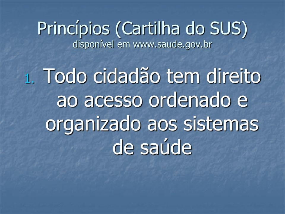 Princípios (Cartilha do SUS) disponível em www.saude.gov.br