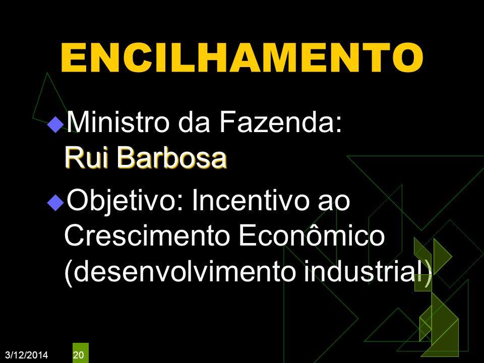 ENCILHAMENTO Ministro da Fazenda: Rui Barbosa