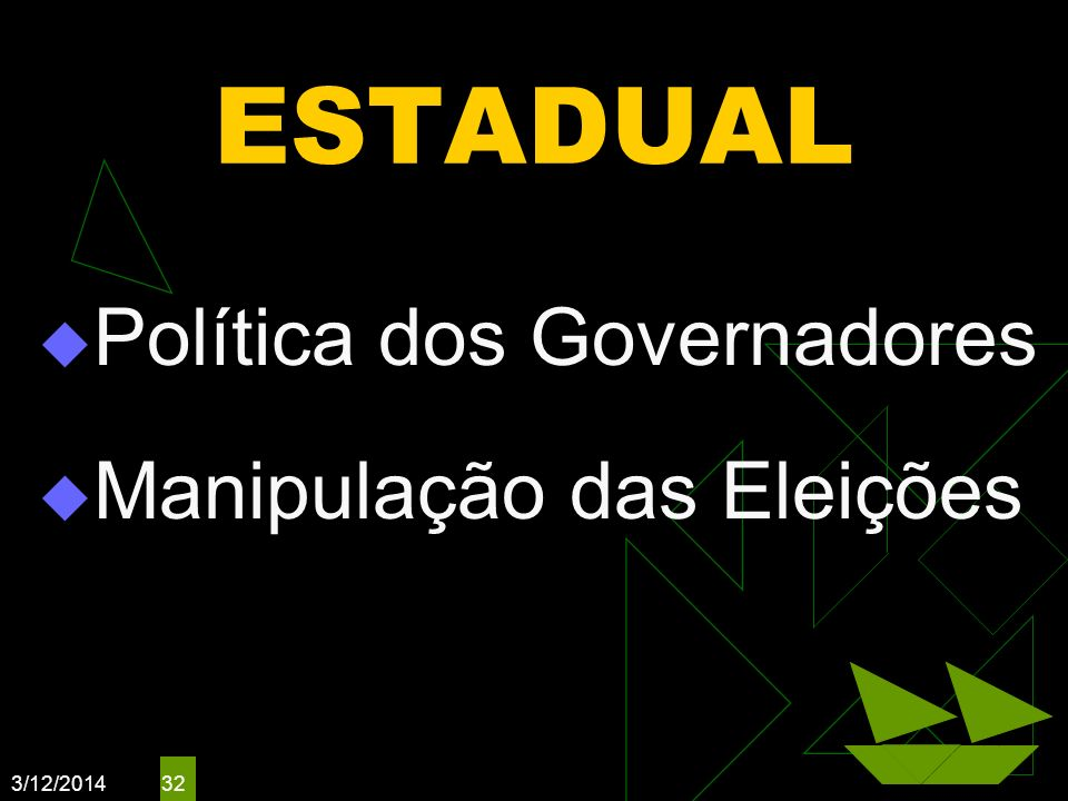 ESTADUAL Política dos Governadores Manipulação das Eleições 3/26/2017