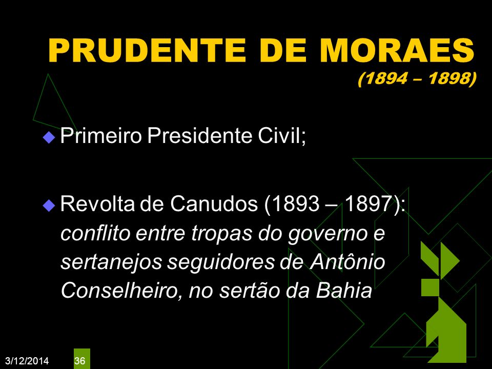 PRUDENTE DE MORAES (1894 – 1898) Primeiro Presidente Civil;