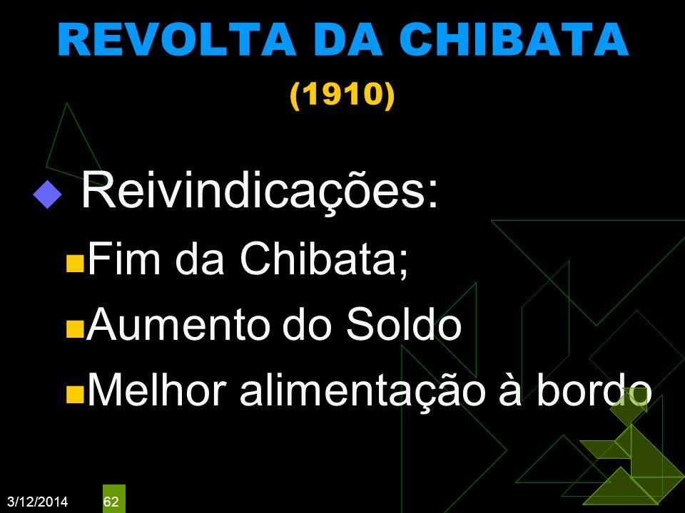 Reivindicações: REVOLTA DA CHIBATA (1910) Fim da Chibata;