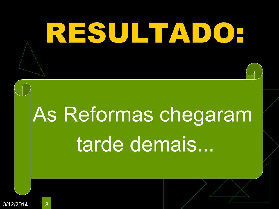 RESULTADO: As Reformas chegaram tarde demais... 3/26/2017