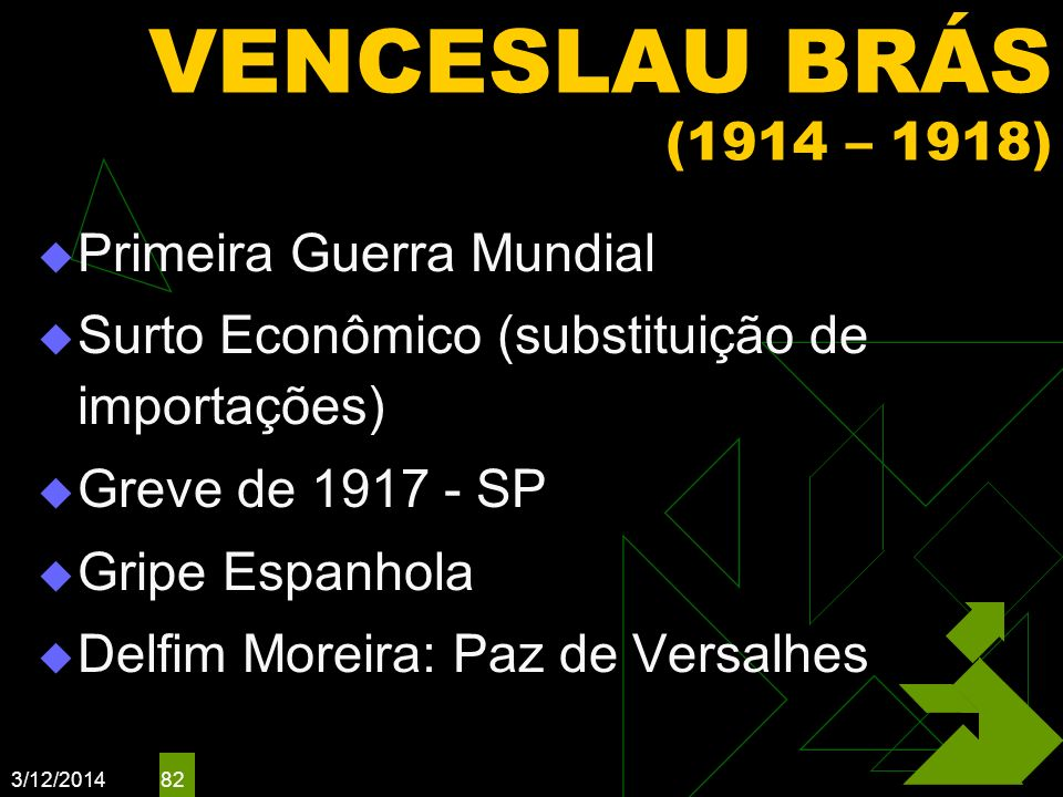 VENCESLAU BRÁS (1914 – 1918) Primeira Guerra Mundial