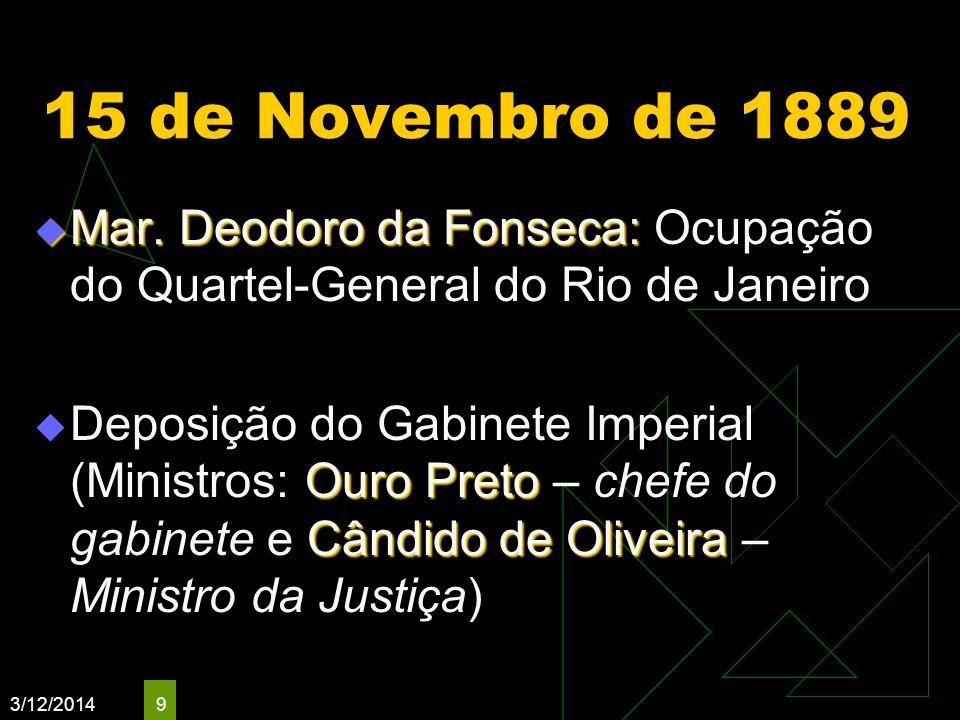 15 de Novembro de 1889 Mar. Deodoro da Fonseca: Ocupação do Quartel-General do Rio de Janeiro.