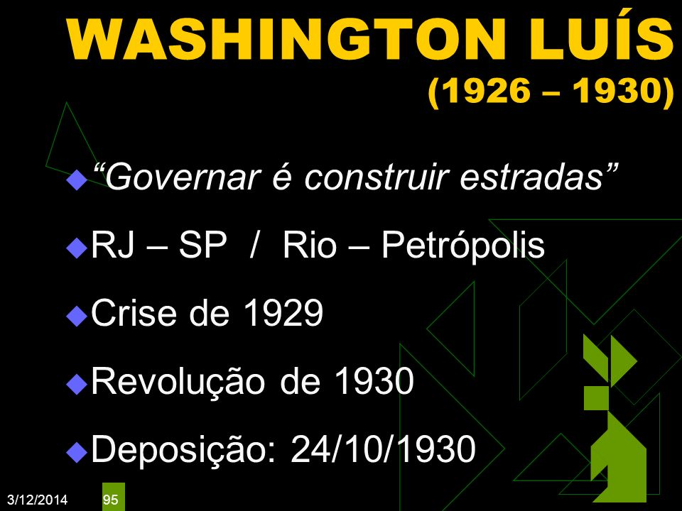 WASHINGTON LUÍS (1926 – 1930) Governar é construir estradas