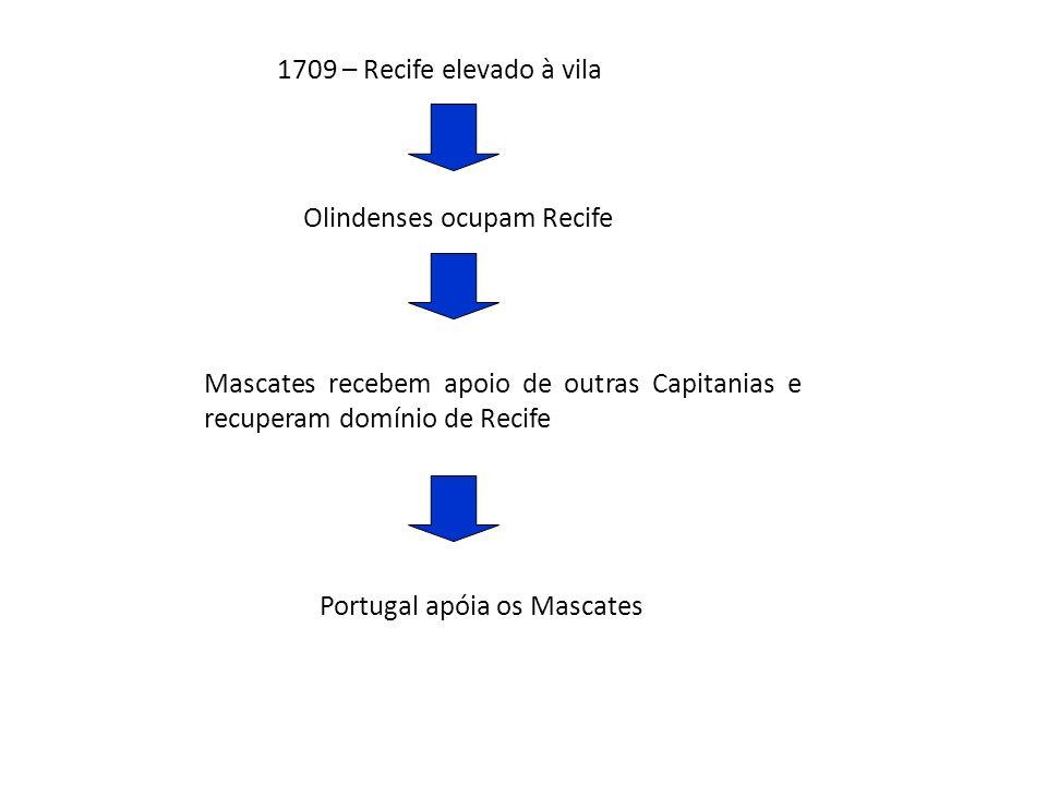 1709 – Recife elevado à vila Olindenses ocupam Recife. Mascates recebem apoio de outras Capitanias e recuperam domínio de Recife.