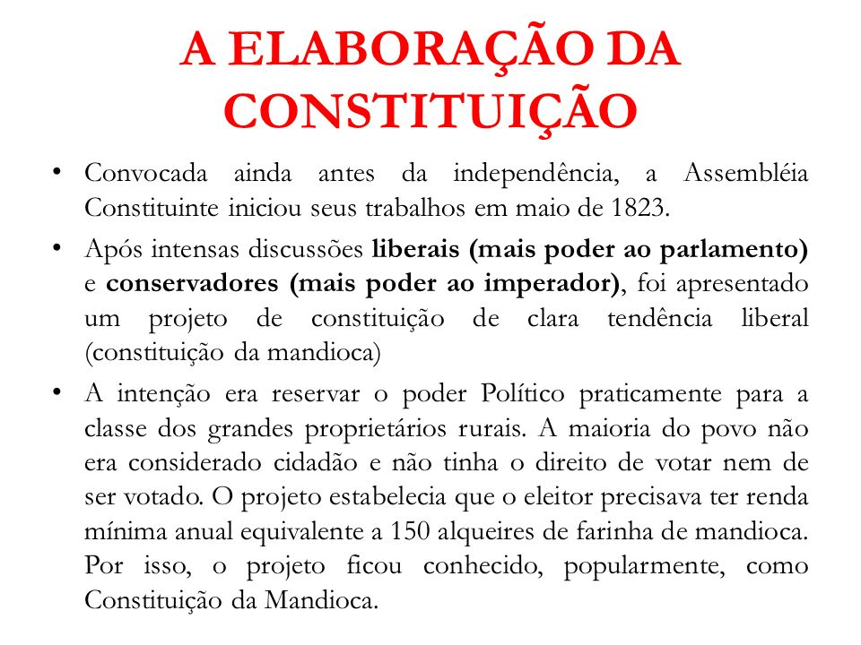 A ELABORAÇÃO DA CONSTITUIÇÃO