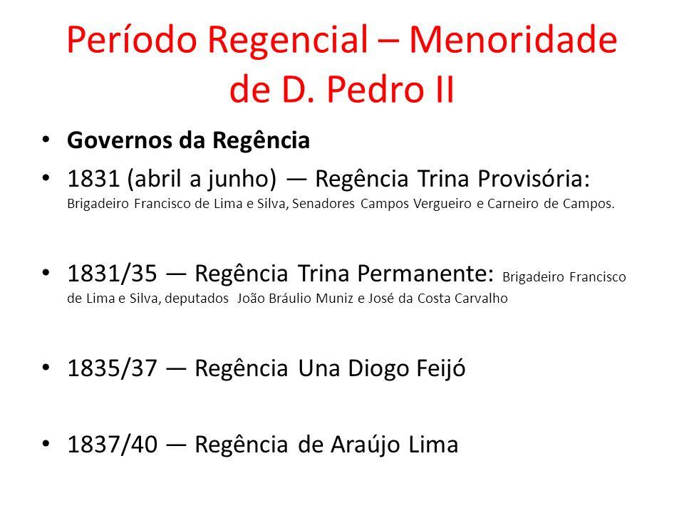 Período Regencial – Menoridade de D. Pedro II
