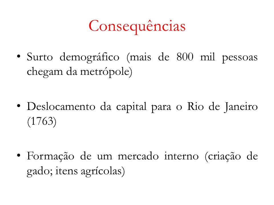 Consequências Surto demográfico (mais de 800 mil pessoas chegam da metrópole) Deslocamento da capital para o Rio de Janeiro (1763)