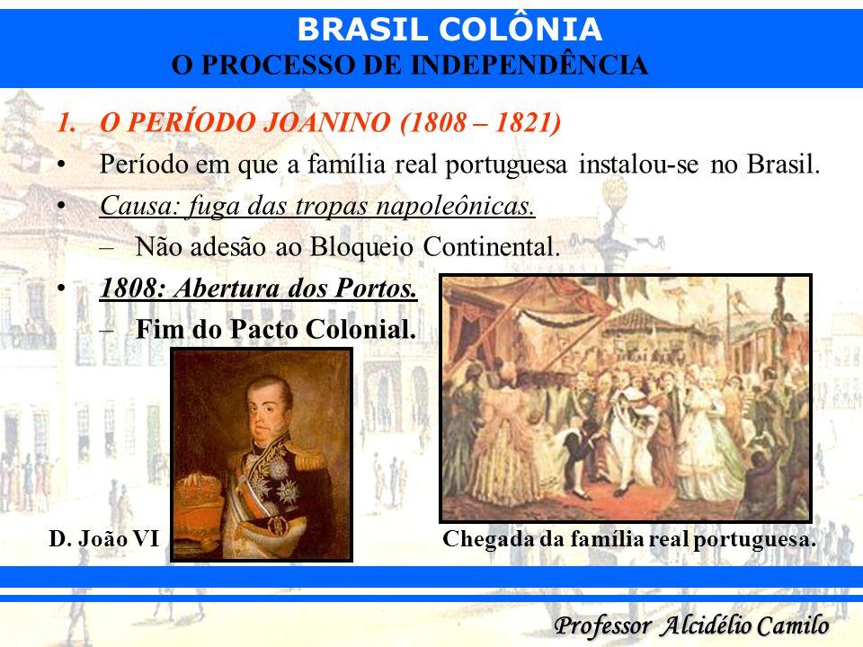 Período em que a família real portuguesa instalou-se no Brasil.