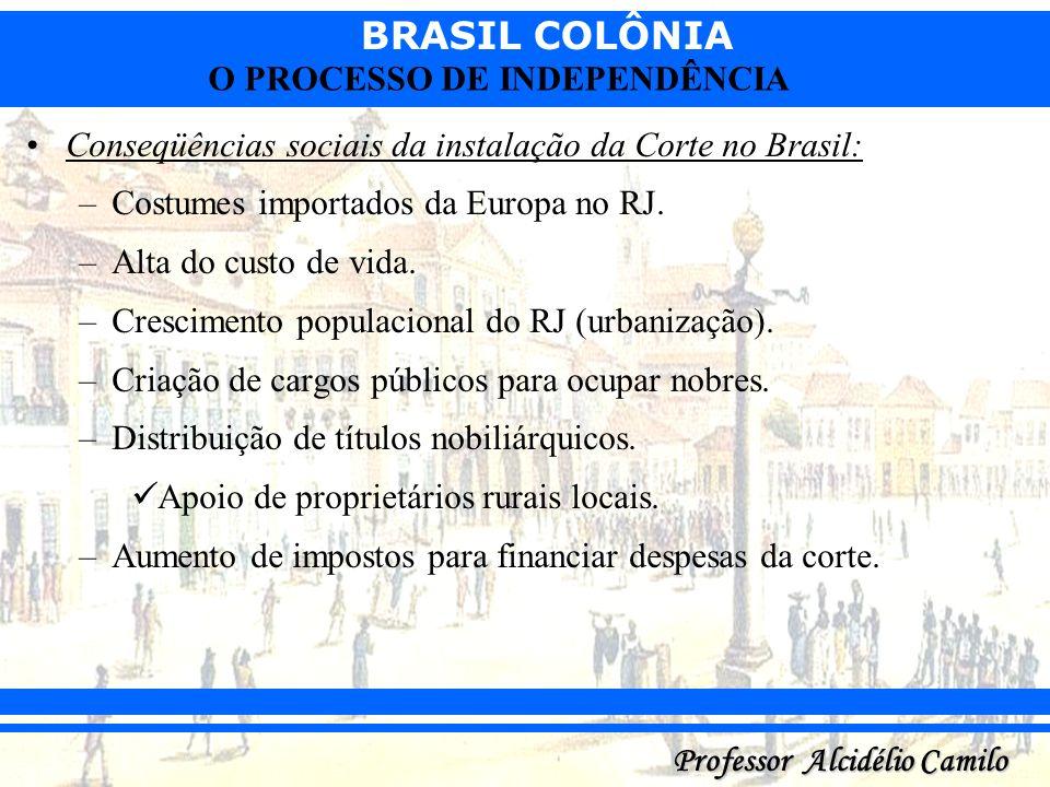 Conseqüências sociais da instalação da Corte no Brasil: